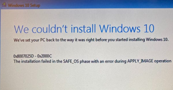 Fix Windows 10: Installation Failed in the Safe_OS Phase