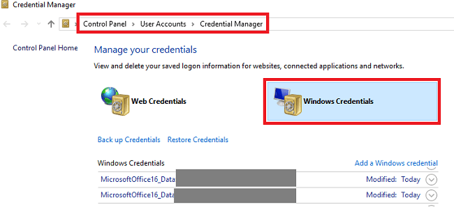 office-credentials-windows-10