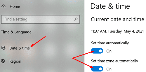 set-date-and-time-automatically-windows-10