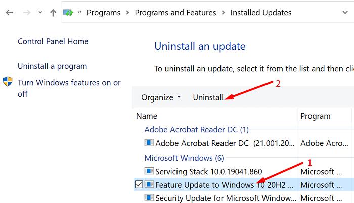 uninstall-Windows-10-updates