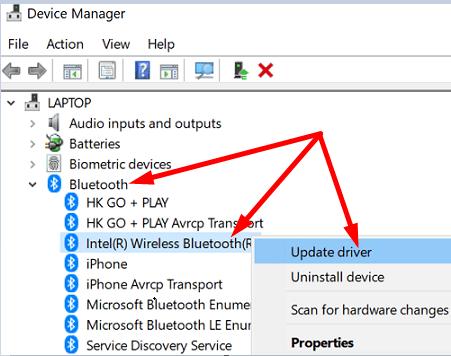windows 10 update bluetooth driver
