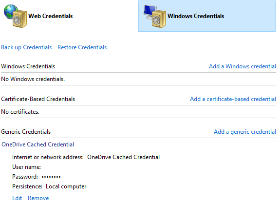 OneDrive-Cached-Credential