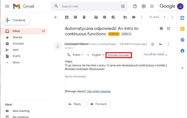 Gmail Auto Trainslate Message Link