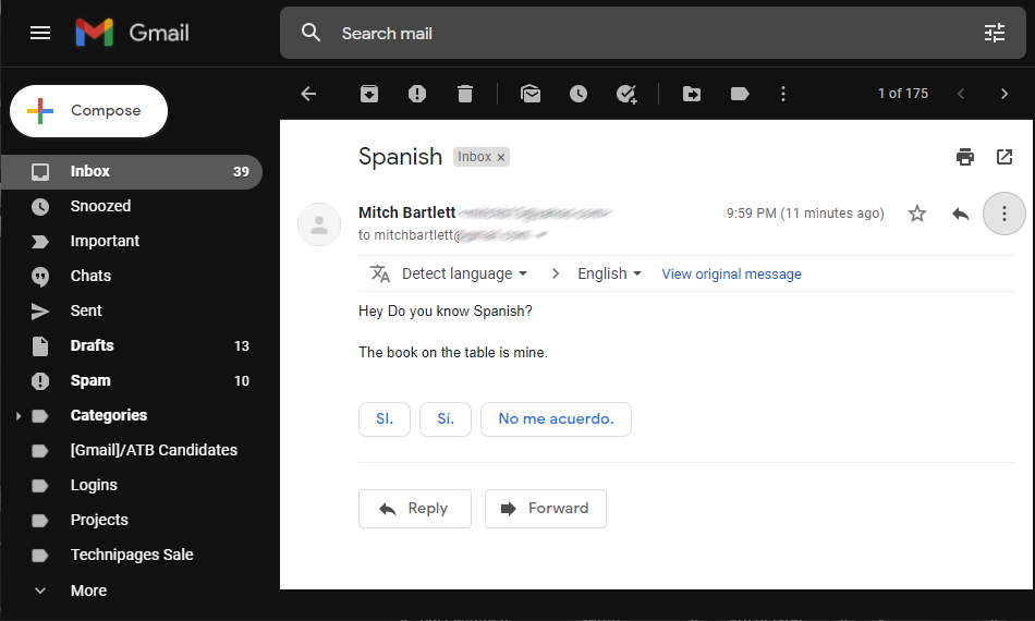 Gmail Email After Translation