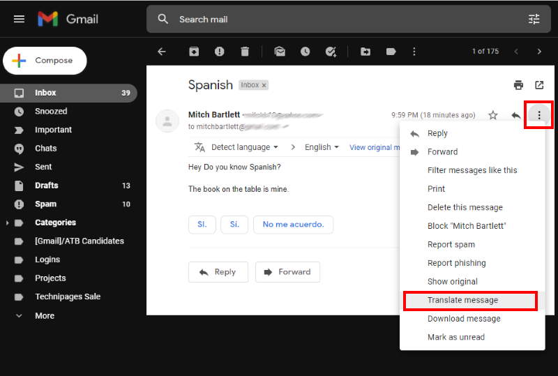 Gmail Translate Message Selection