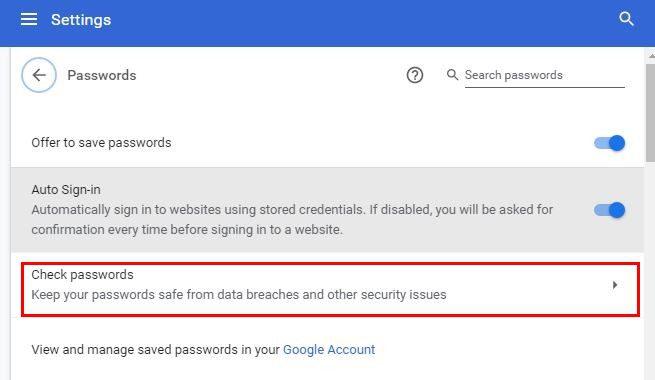 Check passwords option Chrome