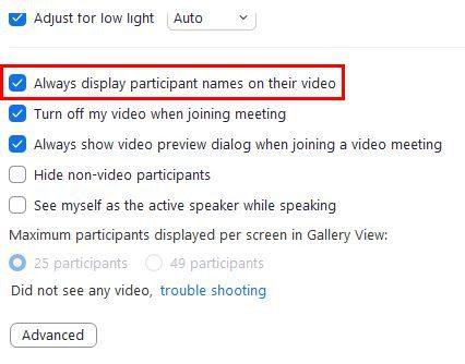 Zoom Remove name settings