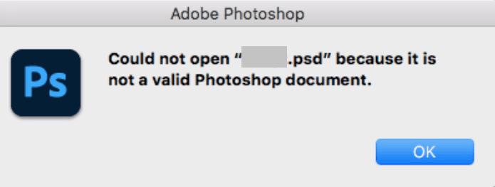Not-a-Valid-Photoshop-Document-Error