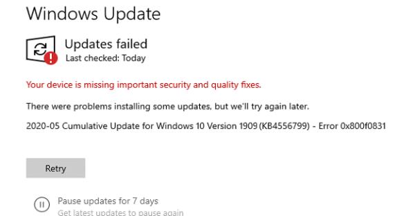 How to Fix Error 0x800f0831 When Updating Windows