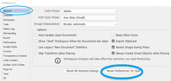 reset preferences on quit photoshop