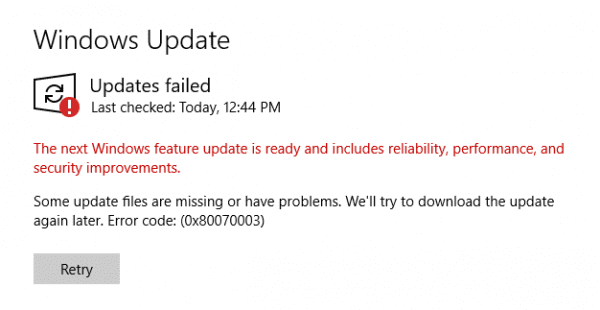 Fix Error 0x80070003: Some Update Files Are Missing