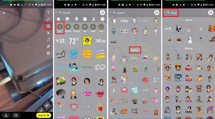 Access Snapchat GIFs