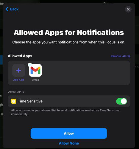 Allowed apps for focus iPadOS 15