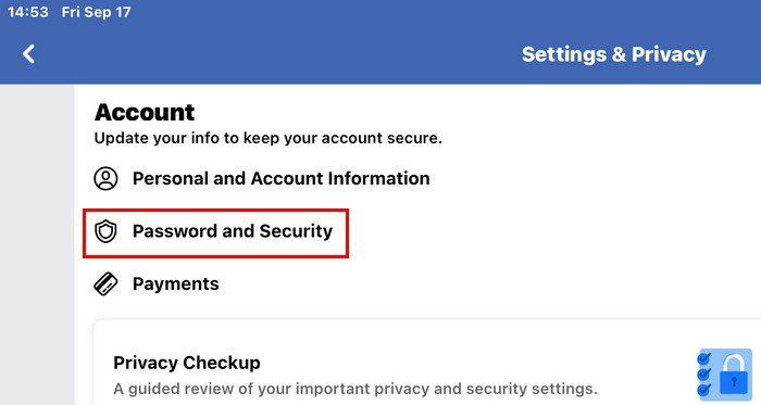 Password and security Facebook iPad