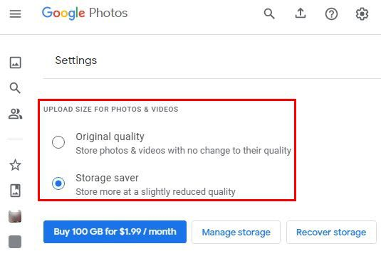 Google Photos Settings Quality