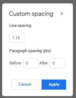 Custom line spacing Google Docs
