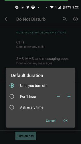 Do not disturb times