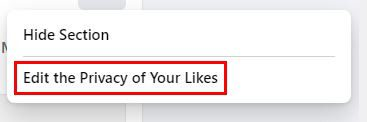 Facebook edit the privacy of your likes