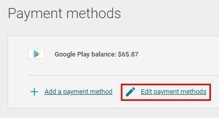 Edit Google Play payment methods