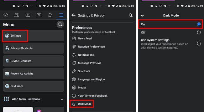 Enable dark mode setting facebook