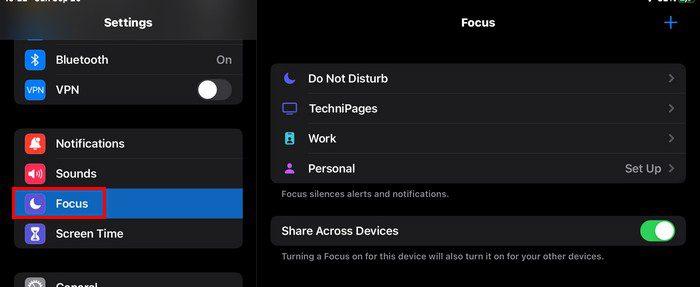 Settings Focus iPad OS 15