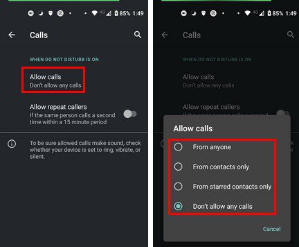 Disable calls do not disturb Android