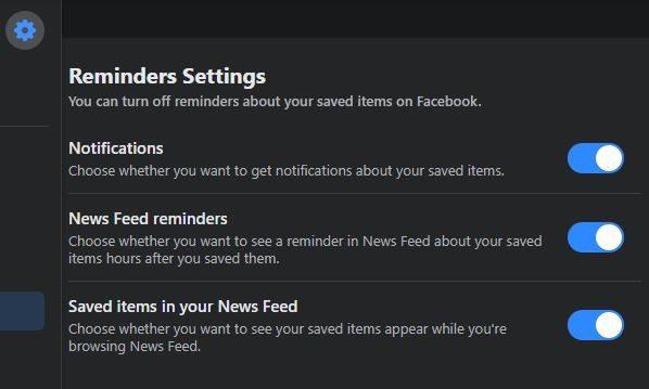 Reminder Settings Facebook