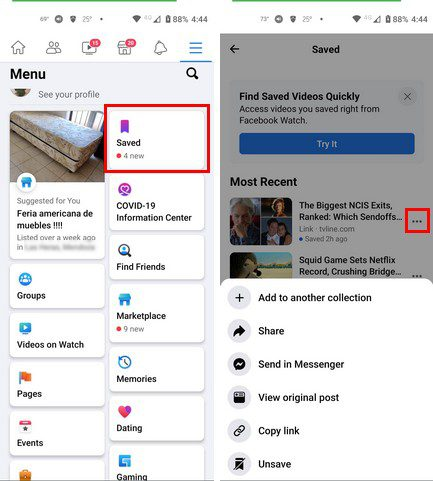 Find saved posts Facebook Android